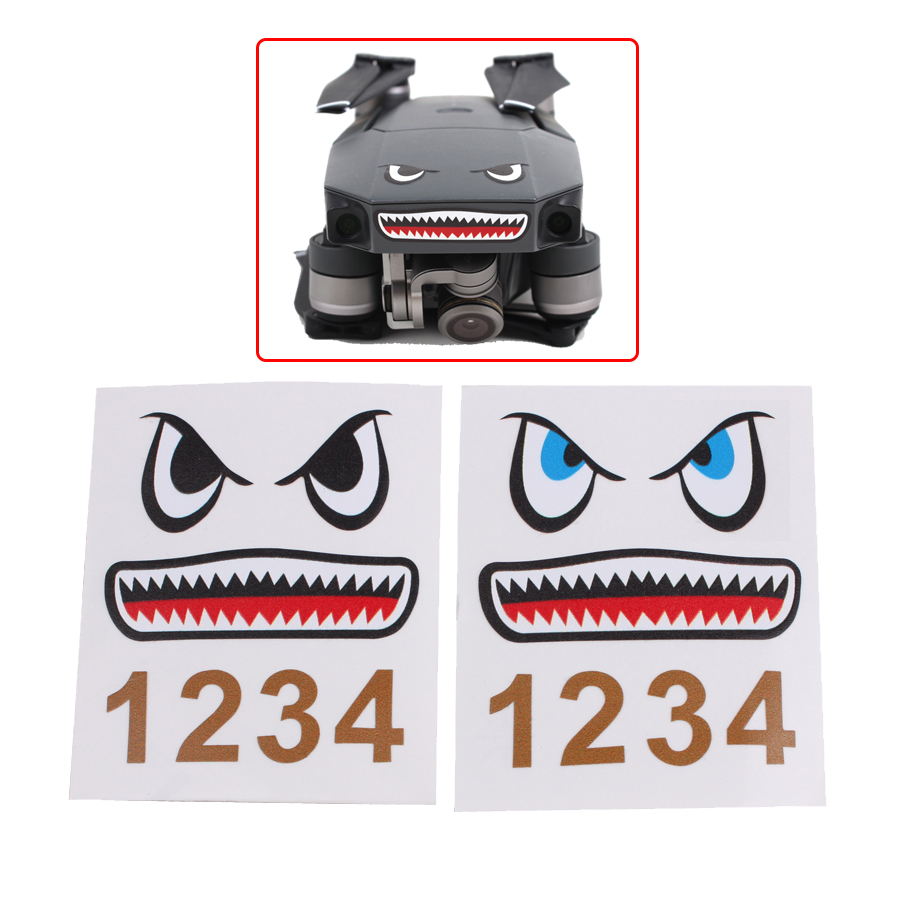 2pcs Shark Sticker Aircraft Frame Spare Parts Drone Body Adhesive Waterproof Skin Sticker Face Decals For DJI Mavic Pro/Air