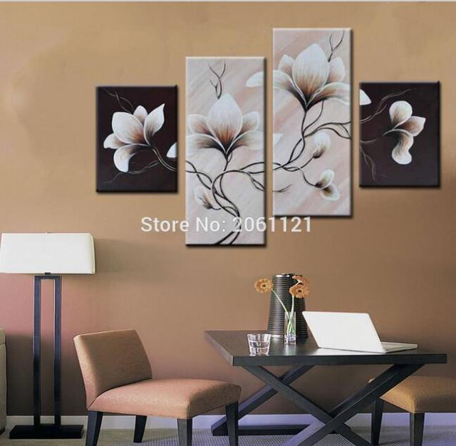 4 Panels Group Oil Painting On Canvas Flowers Black White Style Wall Paintings Easy Simple Home