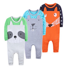 Купить с кэшбэком Spring Baby Rompers High quality Boy Girl Clothes Long Sleeves Comfortable Baby Pajamas Kawaii Animal rabbi model Kid Jumpsuit