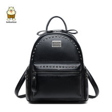 Beibaobao New 2018 Women Backpacks High Quality Small School Bags For Teenage Girls Pu Leather Rivet Multi-use Bags(China)