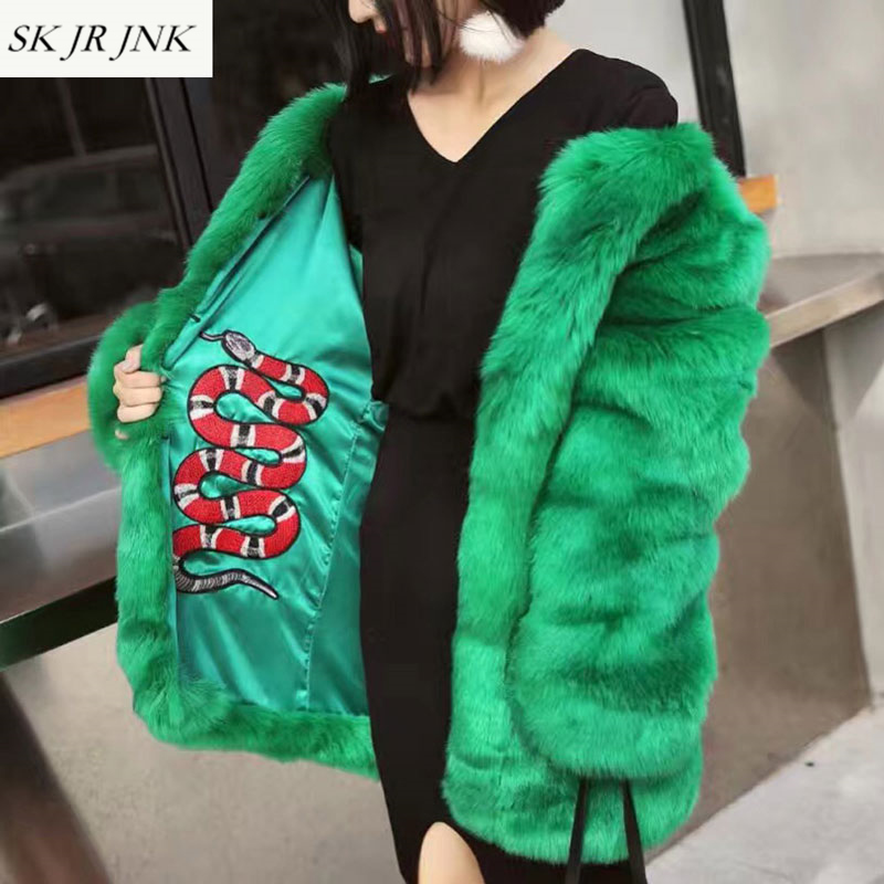 Women Winter Thick Warm Faux Fox Fur Coat Femme Temperament Stylish Snake Embroidery Lined Hairy Shaggy Long Outerwear Coat LW73 цена