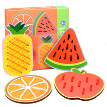 Large Children Puzzle Fruit Animal Threading Board Color Shape Matching Game Early Education Wooden Desktop Toy Game