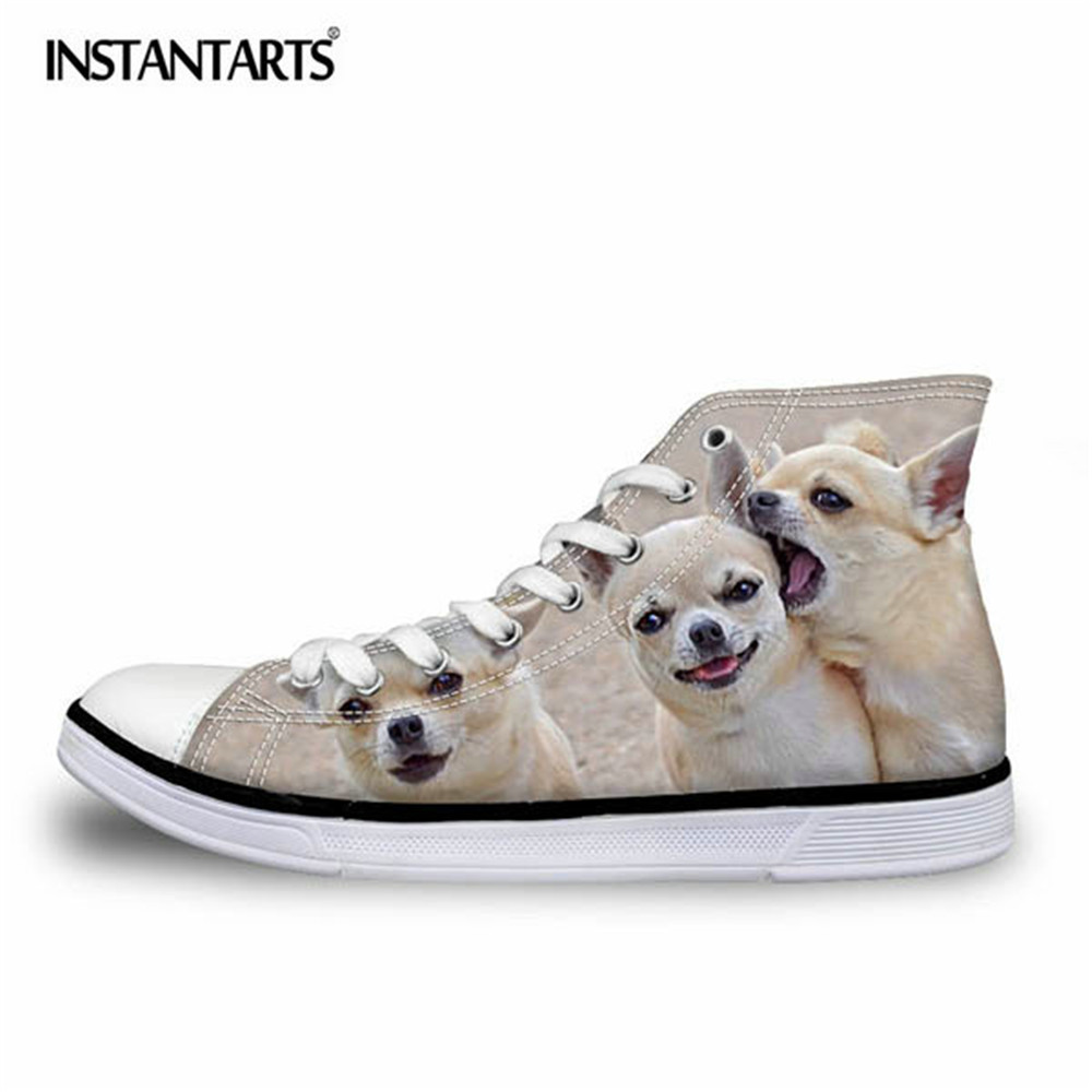 INSTANTARTS Cute Chihuahua Printed Women High Top Vulcanize Shoes 3D Animal Female Lace-up Canvas Shoes Women's Sneakers Shoes