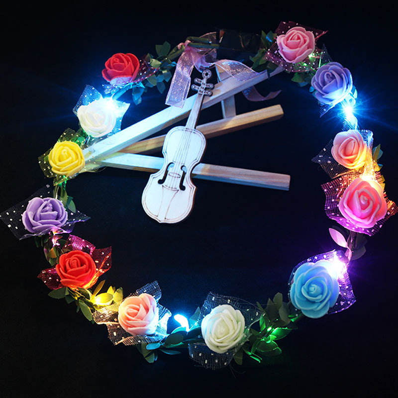 Glowing Garland Party Crown Flower Headband LED Light Up Hair Wreath Hairband  Christmas Neon Wedding Glowing Wreath Toy Gift