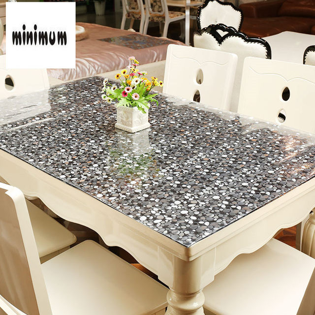 Stone Pattern PVC Tablecloth Waterproof Anti Hot Plastic Soft Glass Table  Mats Coffee Mat Round Crystal Plate 1.5mm Thickness