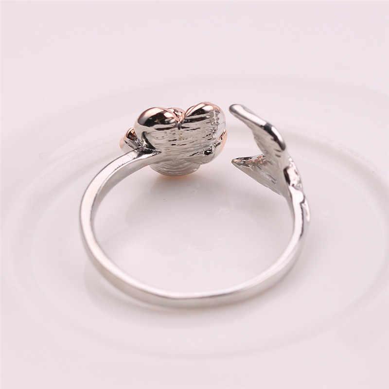 สีแดง Rose Garden ใบปรับขนาดได้นิ้วมือสีเงินแหวนสำหรับผู้หญิงของขวัญวันวาเลนไทน์เครื่องประดับร้อนเปิดแหวน