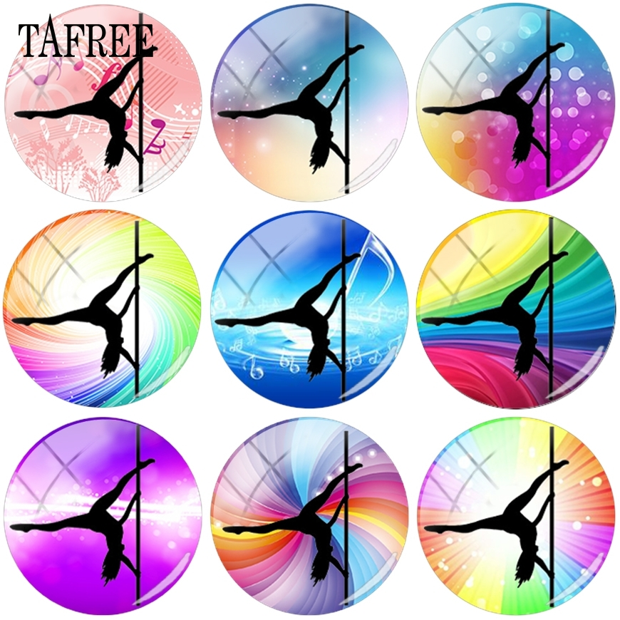 TAFREE Hot Sale Pole Dancing Pose Female Dancers Picture Glass Cabochon Cover Jewelry Findings Components