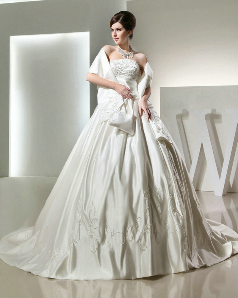 REAL MODEL Diamond Wedding Dress Satin Elegant Ball Gowns ...