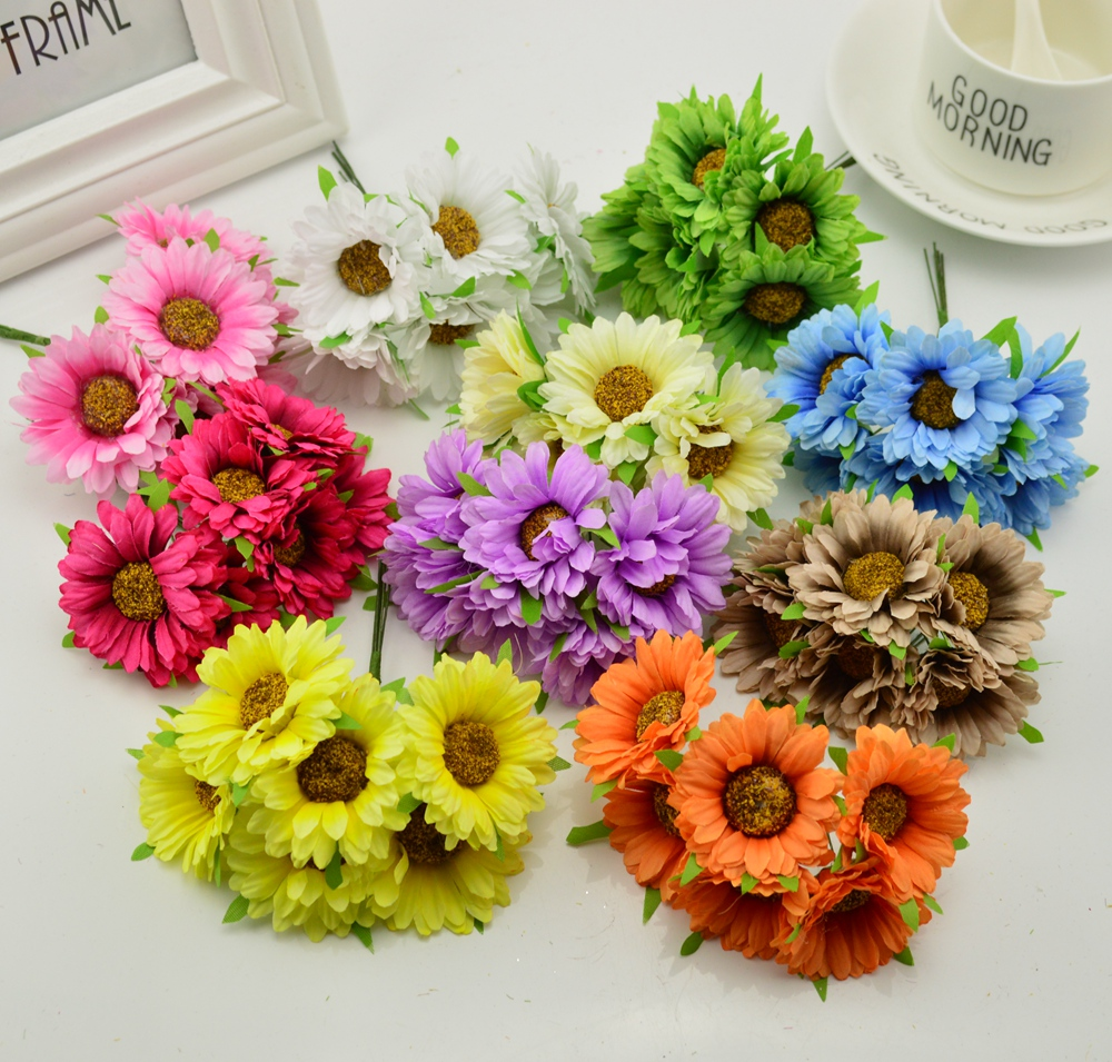 Smr 6pcs Handmade Gerbera Wedding Artificial Flower