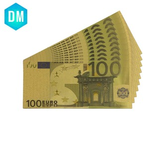 24k золотые банкноты, фольга, евро 100 купюр, бумага Европейского союза, поддельные коллекции денег знаков, винтажный сувенир, продажа денег