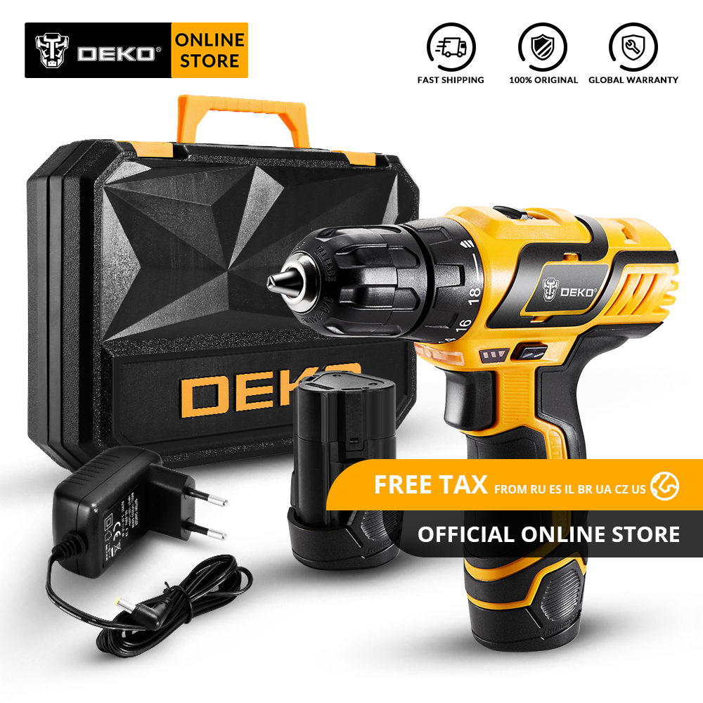 Original DEKO GCD10.8DU3 10.8V Cordless Drill Electric Screwdriver Lithium-Ion Mini Power Driver Variable Speed With LED Light