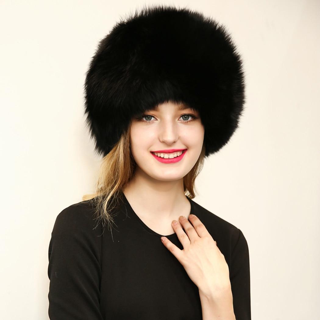 Fox fur Womens winter hat pom pom ear protect bomber hats Russian Ushanka caps Warm Beanies Leifeng Fur Cap