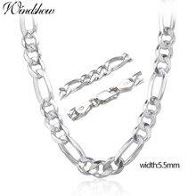 """20 24 """"czysta prawdziwe 925 Sterling Silver Figaro łańcuchy naszyjniki kobiety mężczyźni biżuteria chłopiec prezent dla przyjaciela 50cm 60cm 5.5mm Colier hurtownie"""