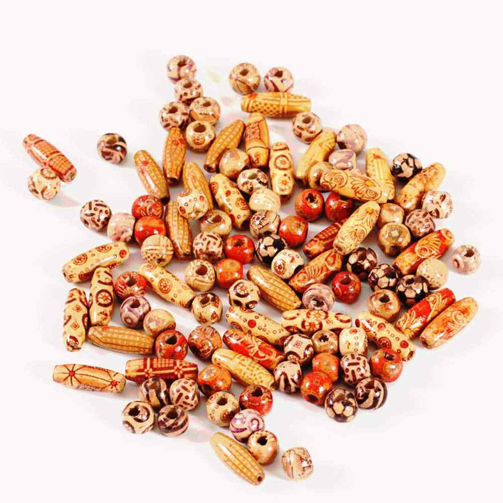 300 חתיכות 2 גדלים מעורב מודפס עץ חרוזים גדול חור חרוז DIY תכשיטי אביזרי לעשות שרשרת צמיד מקרמה קרפט פרויקט