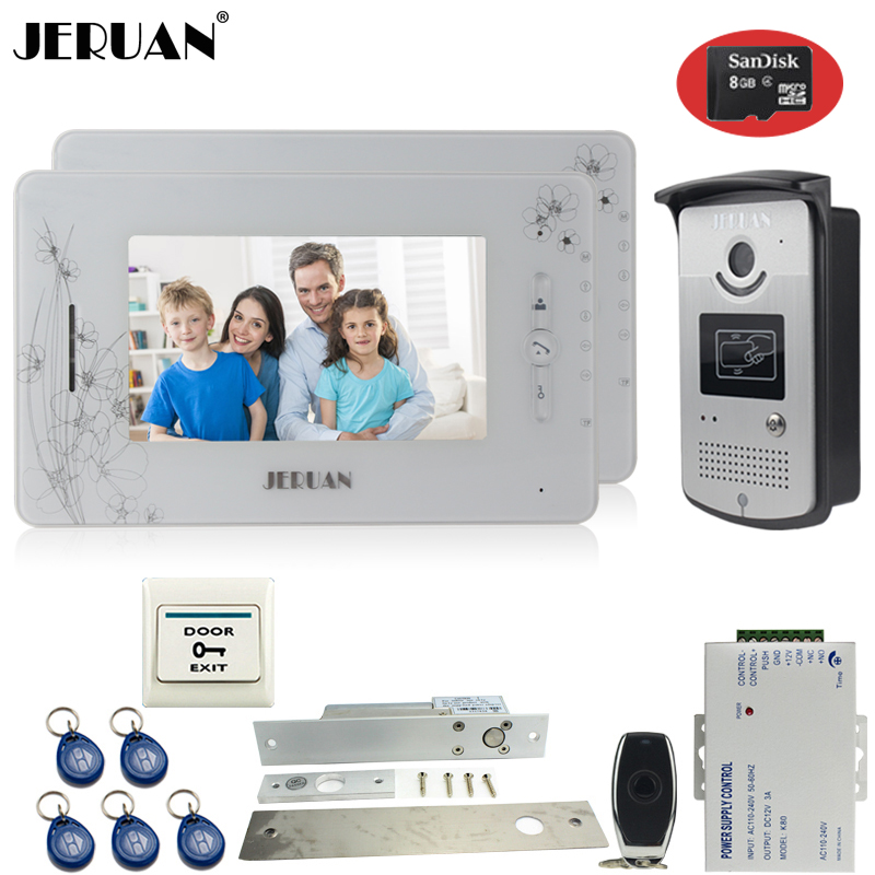 JERUAN two 7`` monitor video door phone intercom system 700TVL RFID Access IR Night Vision Camera+Electric mortise lock+8GB Card jeruan three 7 monitor color video door phone intercom 700tvl rfid access ir night vision camera electric mortise lock 8gb card