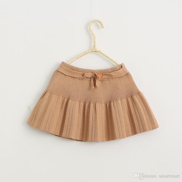 Nueva Dulces Muchachas de Los Cabritos de Punto Volantes Faldas Arcos Moda Otoño Fiesta de Invierno Faldas de Color Caramelo Princesa Faldas
