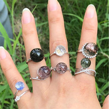natural crystal ghost malachite ring loose mouth design to send a piece of womens jewelry 1pc
