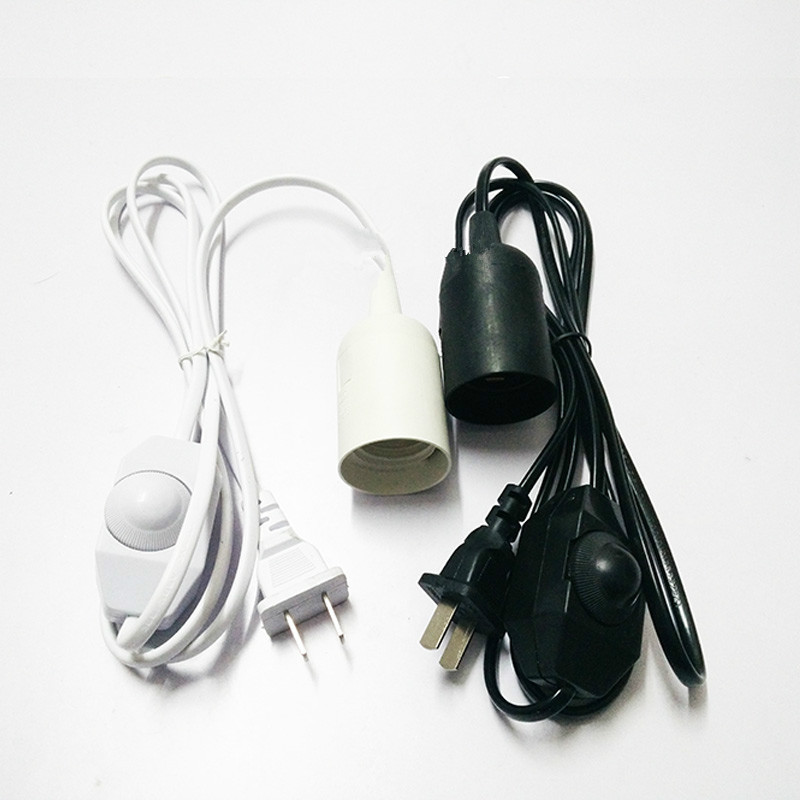 EU Plug E27 Lamp Holder Hanging Pendant LED Light Fixture Lamp Bulb Socket Cord Adapter With Dimmable Switch Lamp Bases ...