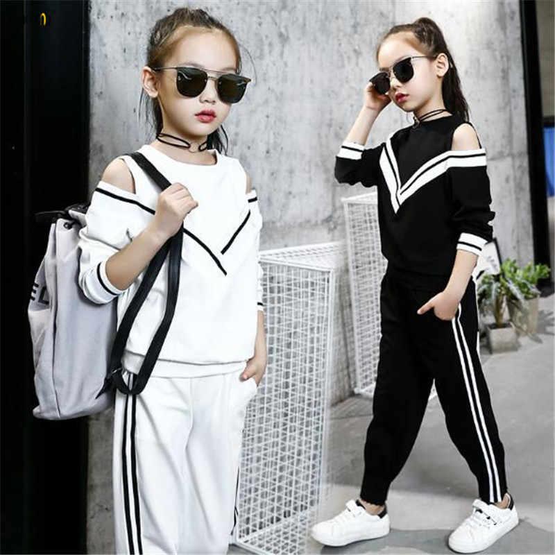 b8436366cd4e Спортивный костюм, осенний комплект одежды для девочек-подростков, топ с  длинными рукавами и