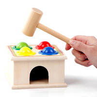 Baby Educational Wooden Toys Beating Ball Game Montessori Sport Toy Kid Gift