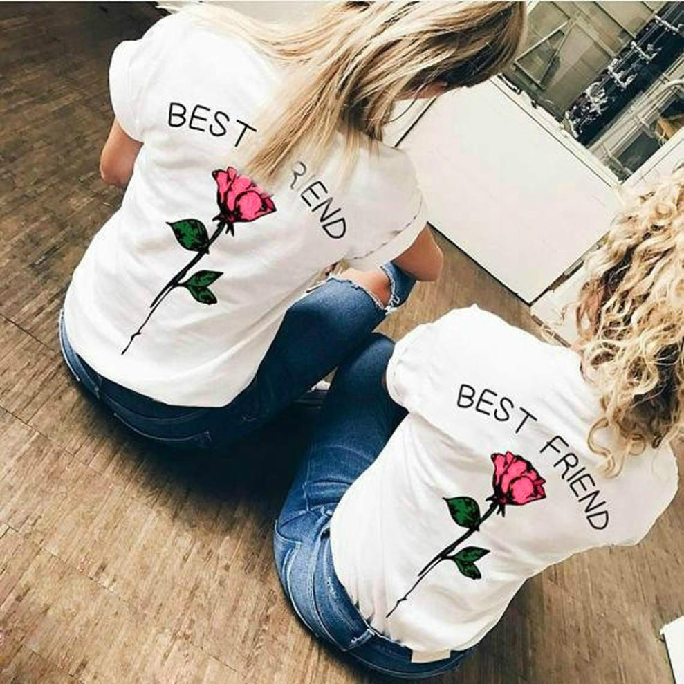 Best Friend Letters Rose Printed Shirts Women Causal Plus Size O Neck Short Sleeve Blouses Summer Tops Blusa Free Ship