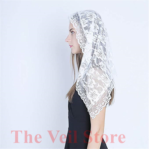 Image 3 - Black white Lace Veil Catholic Mantilla Veil for church Head Covering Latin Mass Bride Veil velo de novia 2019 voile dentelle