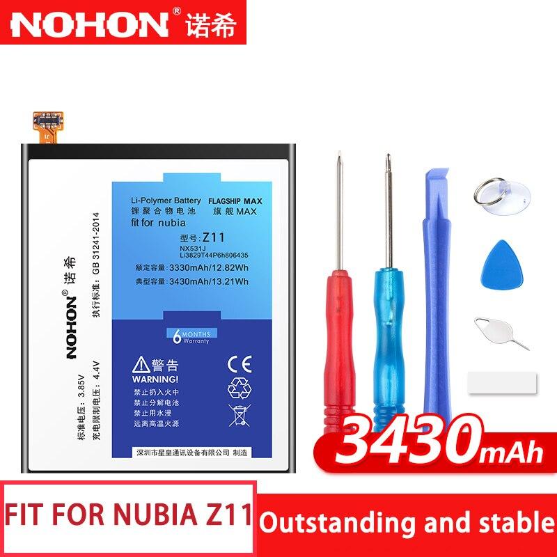 Z11 NX531J NOHON Bateria Para Nubia originais Do Telefone Móvel Max Capacidade 3430 mAh Bateria de Polímero De Lítio De Substituição + Ferramentas Gratuitas