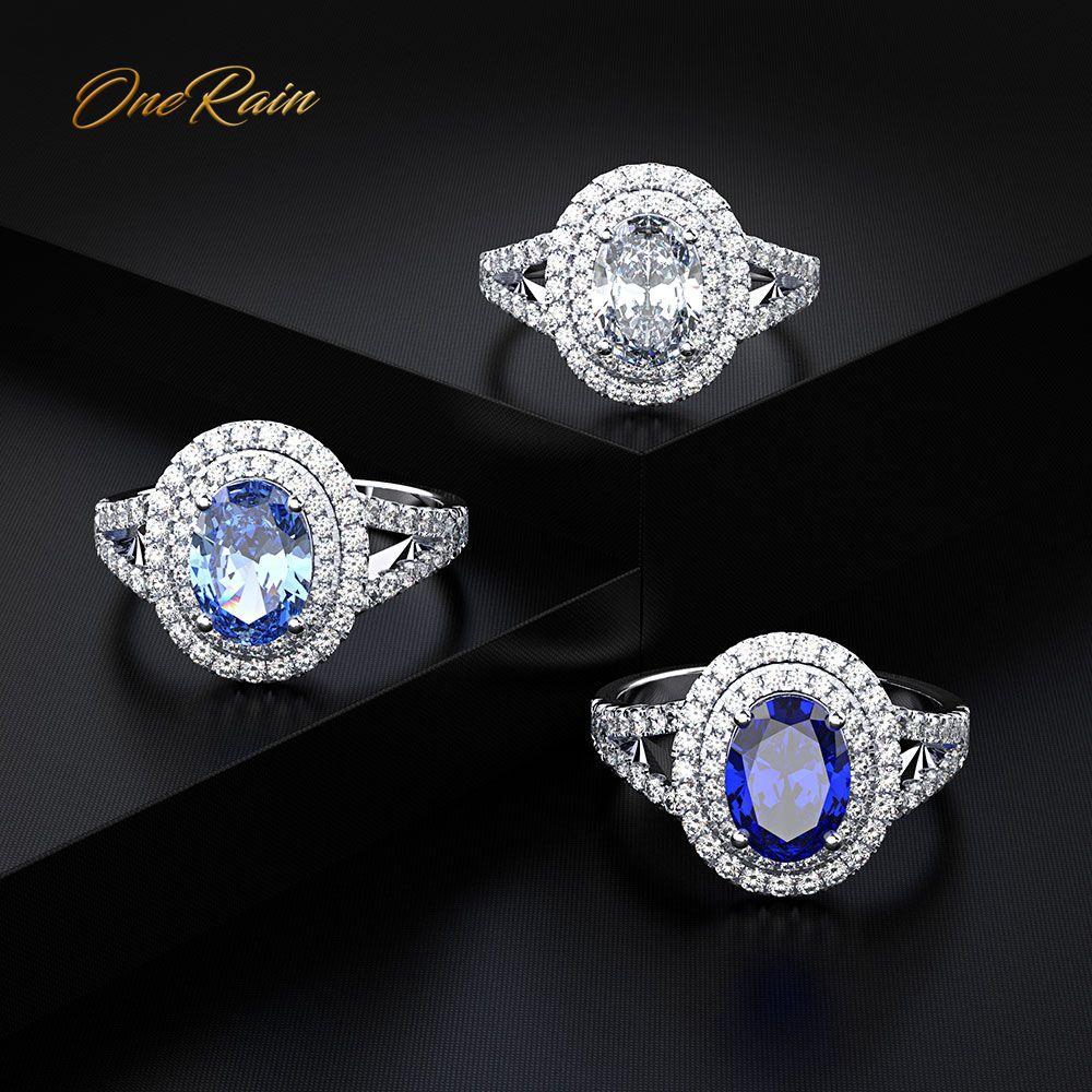 OneRain Luxury 100% 925 Sterling Silver Oval Aquamarine Sapphire Gemstone Wedding Engagement Diamonds Ring Jewelry Wholesale