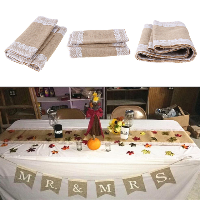 Vintage Burlap Lace Table Runners Sack Bags Natural Jute For Country Party Wedding Christmas Decoration