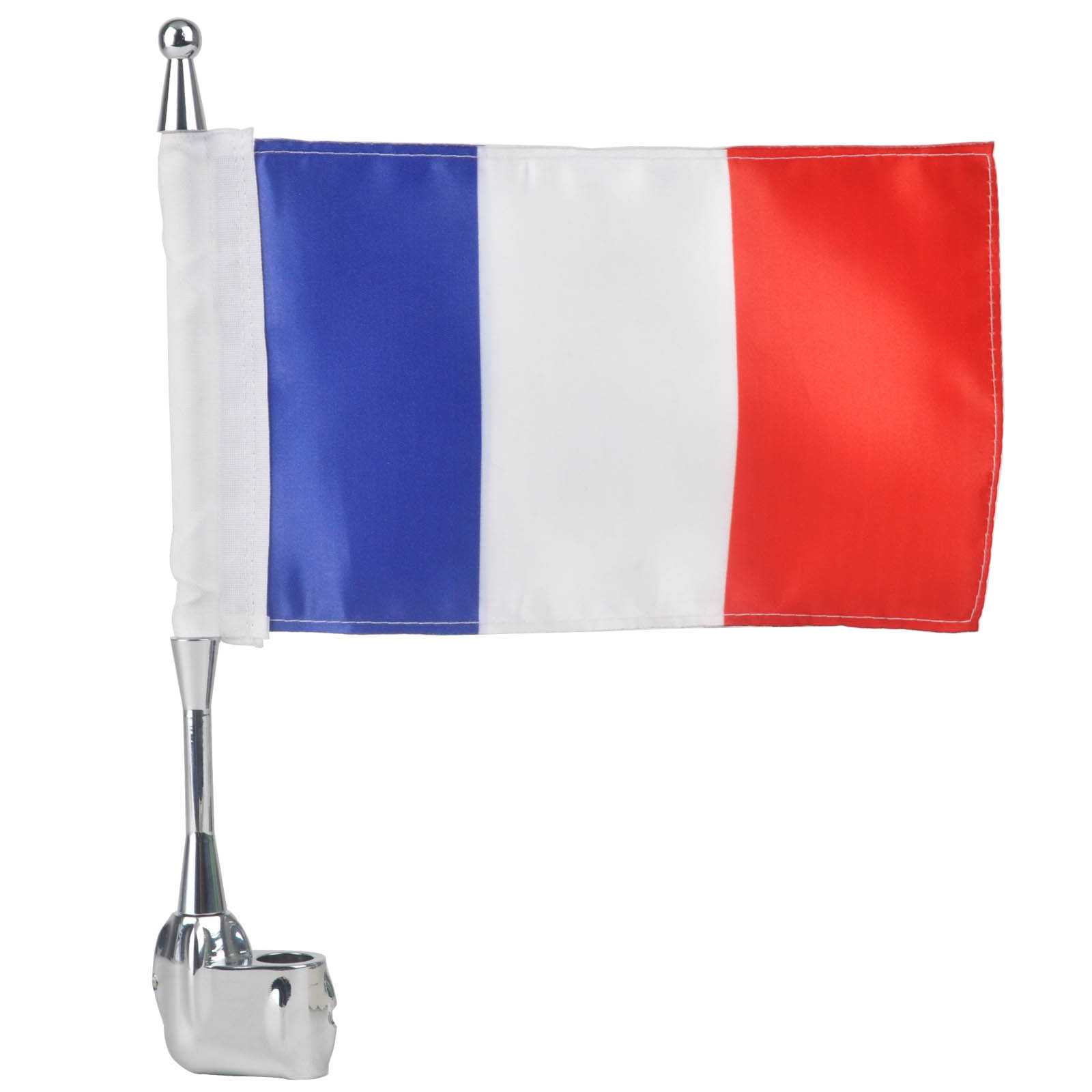 ᗔnew Chrome Motorcycle Rear Side Mount Mount Flag Pole French 【】 Flag Flag For Honda Goldwing