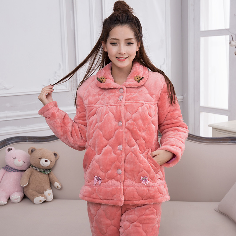 2016 Associating Beauty Sleep Pajamas Are Three New Lady Winter Layer Thickening Warm Cotton Flannel Clip Leisurewear Suit 9023