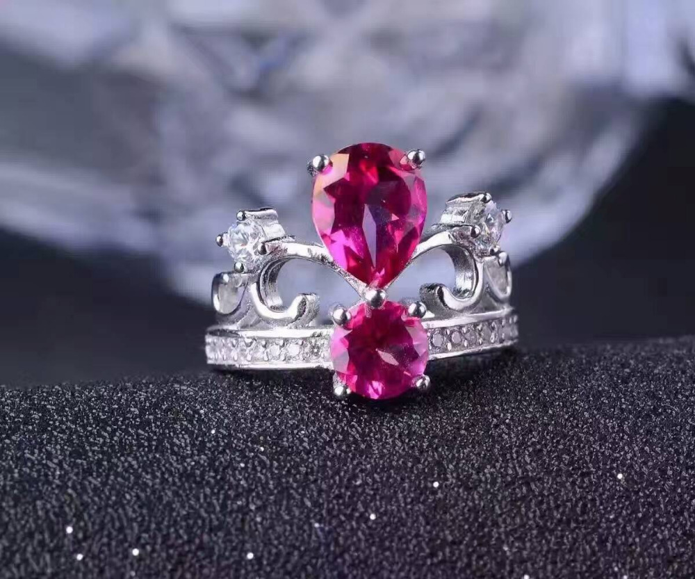 Natural pink topaz gem Ring Natural gemstone ring 925 sterling silver trendy Luxury Crown two arms