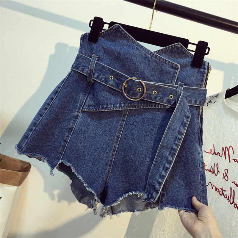 Hoge Taille Denim Shorts Grote maat 5XL Vrouwelijke Korte Jeans 2019 Zomer Dames Hot Shorts Effen kleur Vrouwen Denim Shorts TTT067