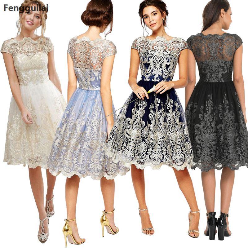 New Sexy Women Fashion Retro Swing Vintage Elegent Short Sleeve Cocktail Party Retro Embroidery Mesh Dress