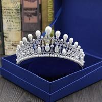 Micro Inlays Full Cubic Zirconia Pearls Brides Wedding Tiaras Prom Party Princess Crown Coronet Bridal Hair