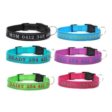 Personalized Dog Collar Nylon Reflective Collar embroidery name font b phone b font number Custom Collars
