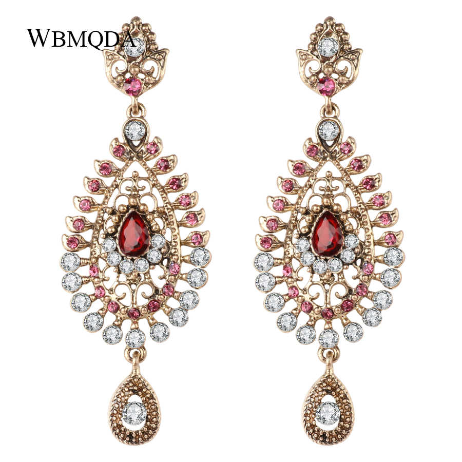 Vintage Pink Crystal Big Long Earrings For Woman Indian Gold Bridal Earings Fashion Jewelry 2018 New Arrivals