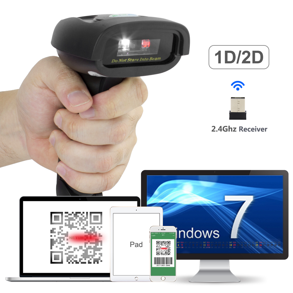 NETUM Wireless 2D QR Barcode Scanner CCD Bluetooth Reader Scansione Imager Per Pagamento Mobile Schermo Del Computer USB Scanner NT-1228