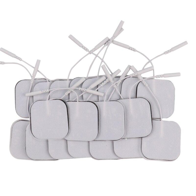100 Pcs/lot Reusable Selbstklebende Elektrode Pads Für EMS/Zehn Nerven Muscle Stimulator Physiotherapie Körper Massager 5*5cm 2mm Stecker