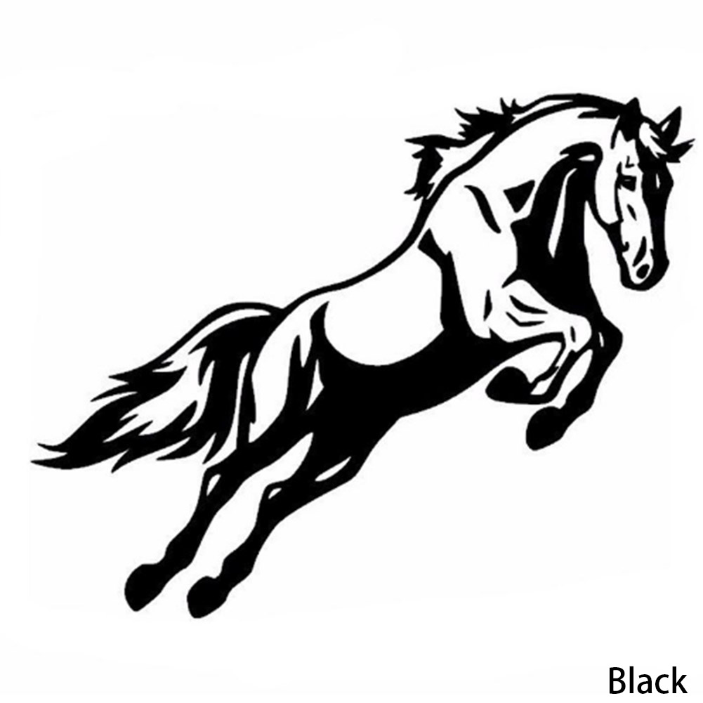 2018 Mighty Jumping Horse Bumper Car Body Decal Funny Vinyl Reflective Car Sticker Black/White