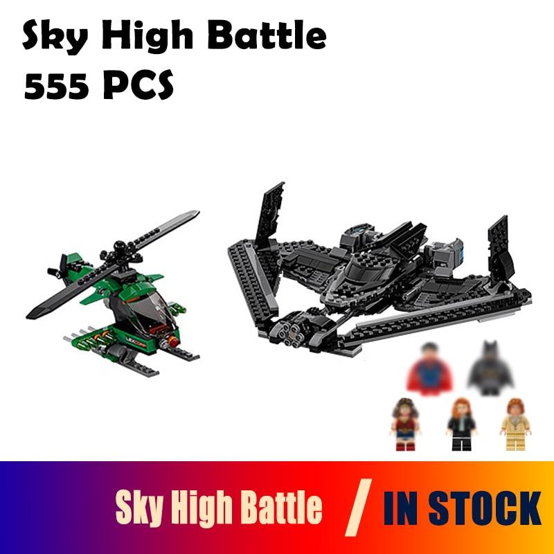 07019 555pcs super heroes Compatible with Lego batman 76046 movie blocks Sky High Battle toys for children Model building blocks