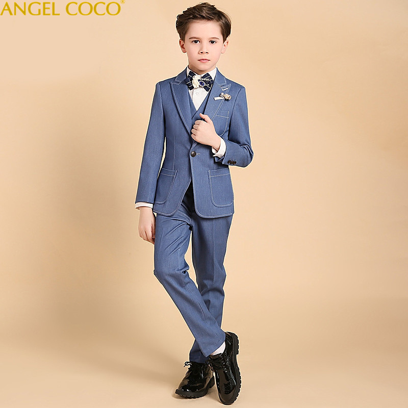 2018 New Fashion Blue Baby Boys Suit Kids Blazers Boy Suit For Weddings Prom Formal Spring Autumn Wedding Dress Boy Suits Garcon цены онлайн