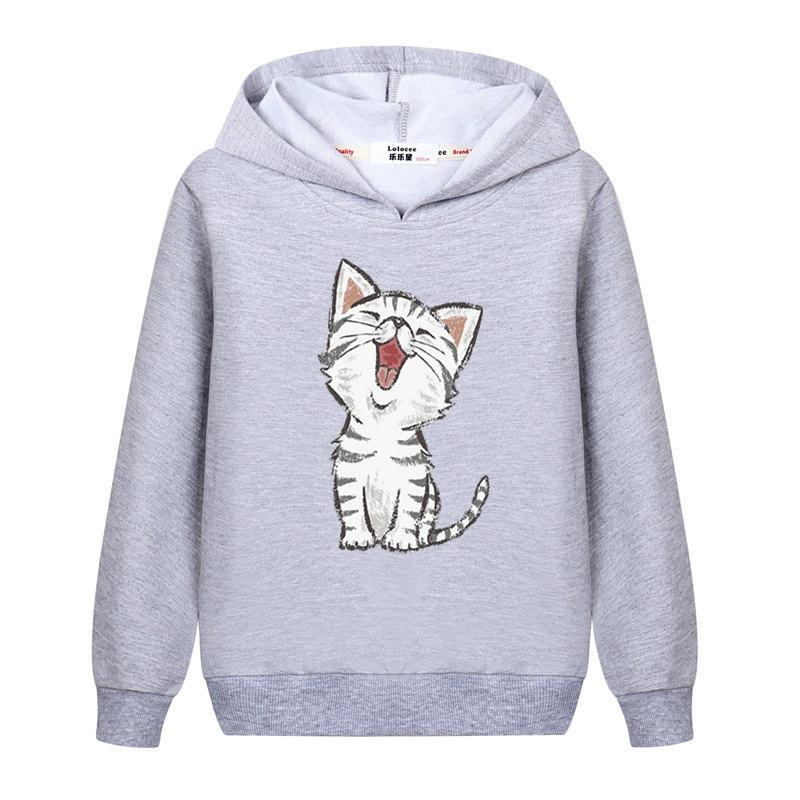 2021 New Sweet Cute Cat Print Hoodie Boys Hoodies Sweatshirt Pullovers Clothes Kids Girls Cotton Harajuku Kawaii Tops 2