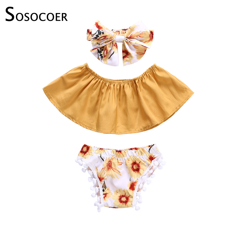SOSOCOER Summer Toddler Baby Girls Clothes Sets Off Shoulder Tops Shorts Flower Headband 3pcs Casual Sunflower Infant Outfits