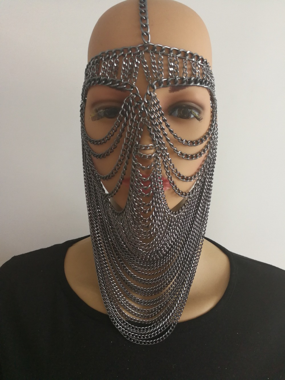 New Fashion Style WRB948 Women Harness Gray Chains Layers Mask Head Face Chains Jewelry  ...
