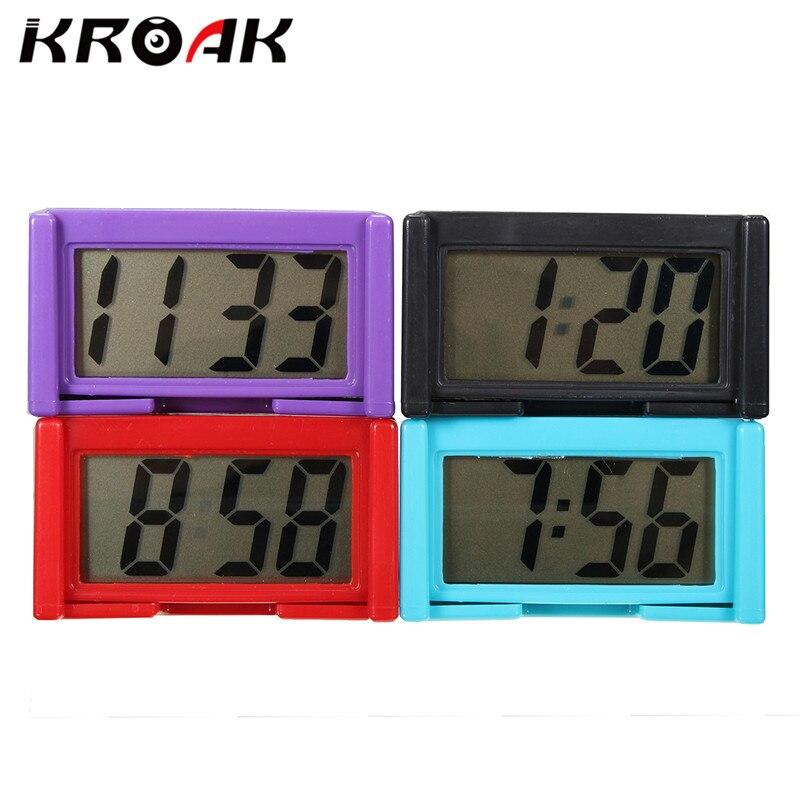 KROAK LCD Automotive Digital Car Clock Self Adhesive Stick On Time Portable