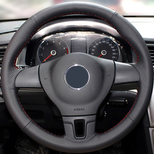 Шить-на подлинных кожаное рулевое колесо крышка Автомобильные аксессуары Для Volkswagen VW Golf 6 Mk6 Поло Jetta Mk6 автомобиль для укладки покрытия