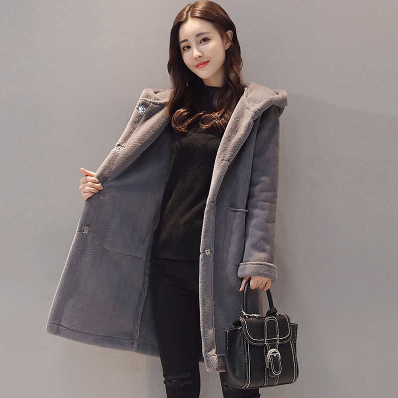 a1c28b7c599 2017 Fashion Warm Woolen Winter Jacket Women s Thick Imitation Deerskin Lamb  Wool Coats female plus size