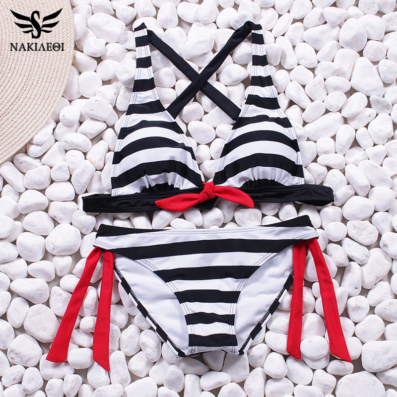 NAKIAEOI 2018 Sexy Bikinis Women Swimsuit Swimwear Halter Top Plaid Brazillian Bikini Set Bathing Suit Summer Beach Wear Biquini 5