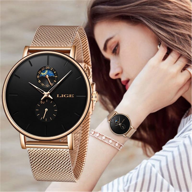 2019 Nova LIGE Das Mulheres Marca De Luxo Assistir Simples Relógio de Quartzo Senhora relógio de Pulso Moda Casual Relógios Relógio Feminino reloj mujer À Prova D' Água